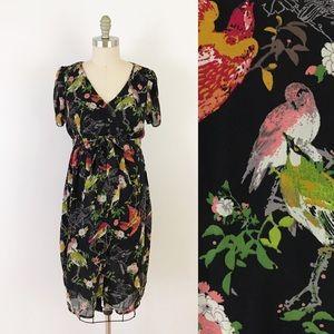 Motherhood Bird Print Black Button Up Dress i383